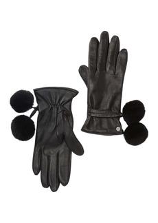 UGG Leather Genuine Shearling Pompom Gloves