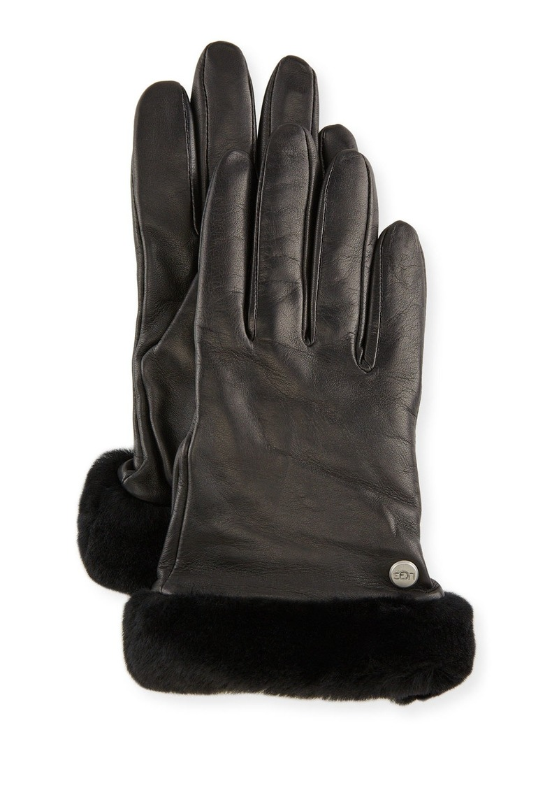 UGG Leather Gloves w/Shearling Trim
