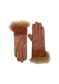 UGG Leather with Suede and Fur Cuff Tech Gloves