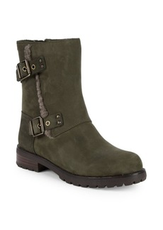 UGG Niels Lamb Shearling Trimmed Leather Mid-Calf Boots