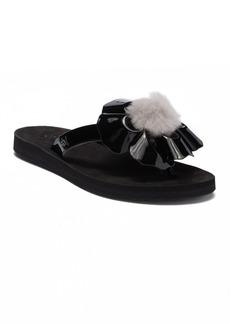 UGG(R) Poppy Genuine Shearling Pompom Flip Flop