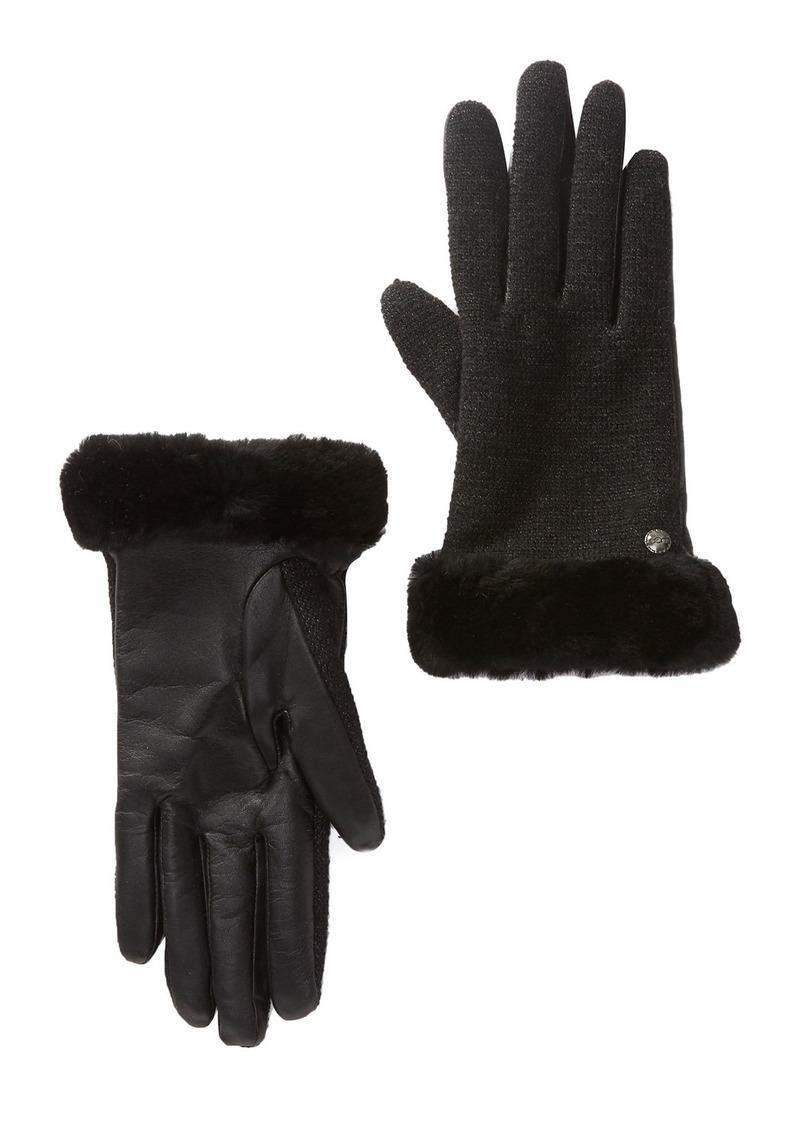 UGG Shorty Smart Fabric Faux Fur Lined Genuine Sheepskin Shearling Cuff Gloves