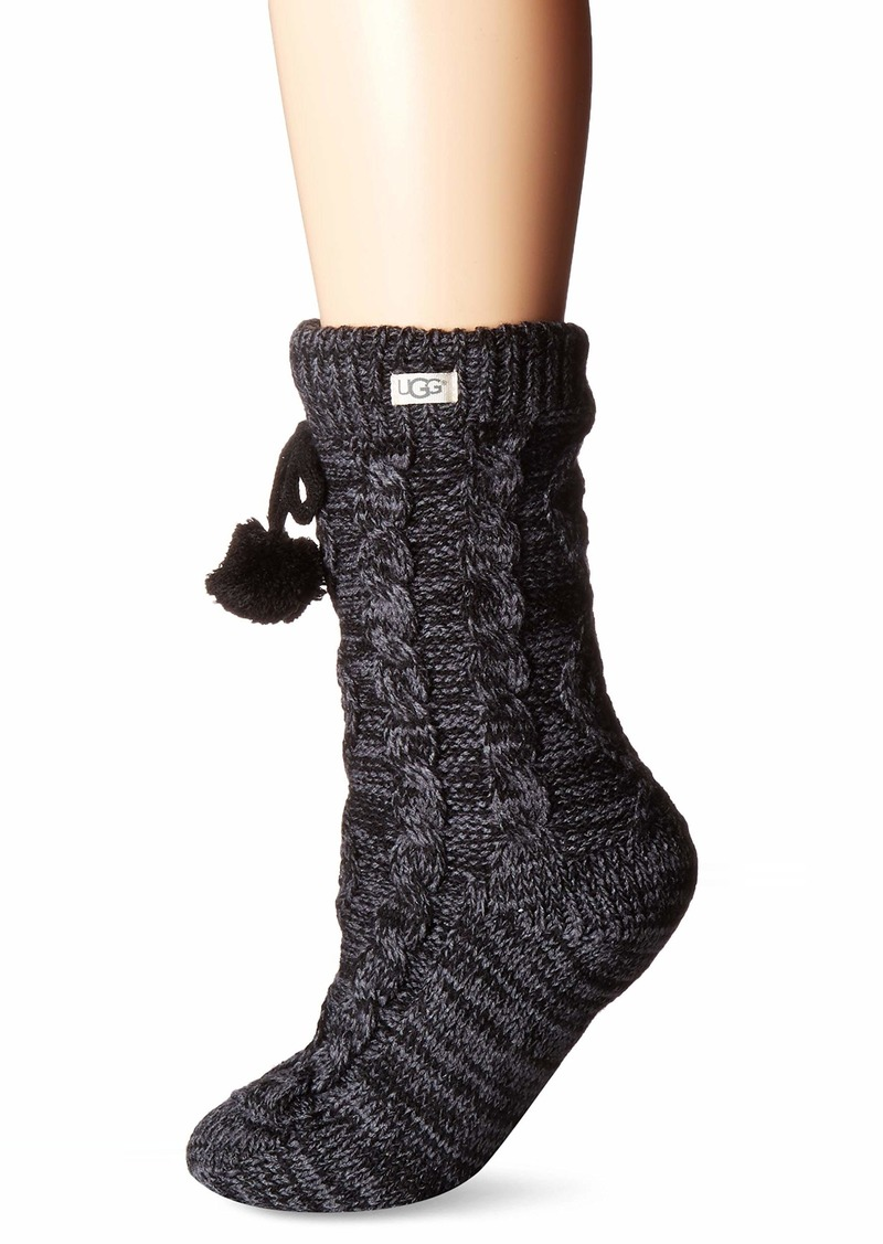 UGG Accessories Women's Pom Pom Fleece Lined Crew Sock