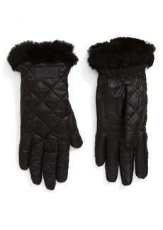 UGG® All Weather Touchscreen Compatible Quilted Gloves with Genuine Shearilng Trim