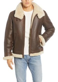 UGG® Auden Genuine Shearling Trim Leather Aviator Jacket