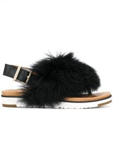 Ugg Australia fur appliqué sandals - Black