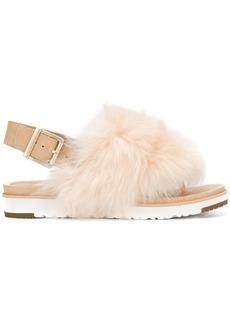 Ugg Australia fur appliqué sandals - Nude & Neutrals