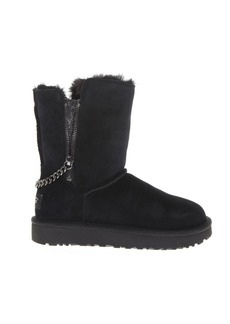 UGG Black Leather Classic Ankle Boots