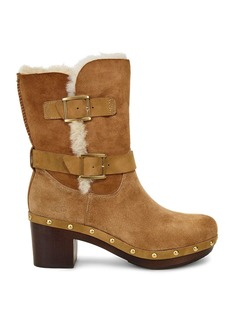 UGG� Brea Sheepskin and Leather Belted Mid Calf Boots