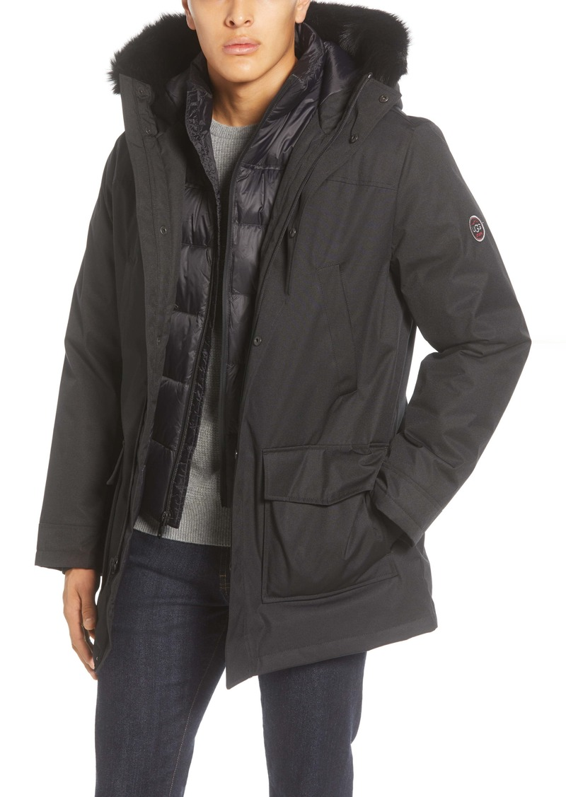 UGG® Butte 3-in-1 Down Parka with Genuine Shearling Trim