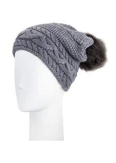 UGG Cable-Knit Beanie w/ Pompom