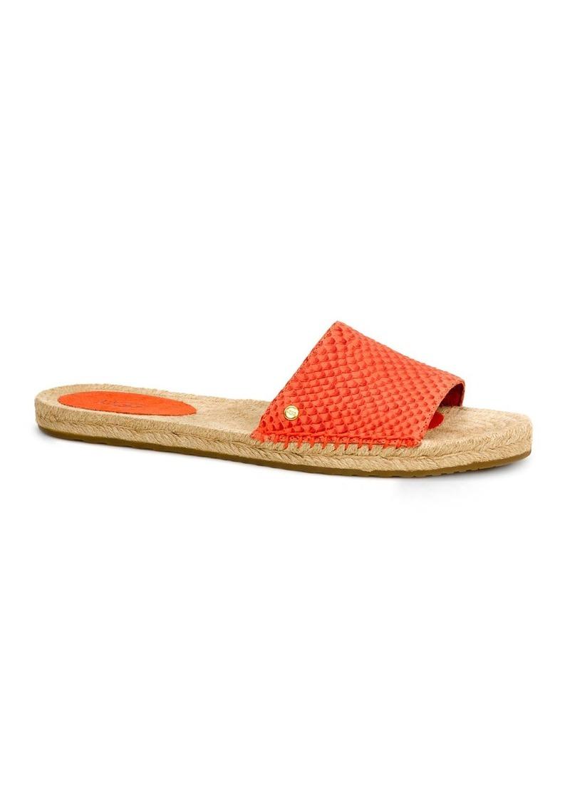 28fc195b3f8 Cherry Exotic Embossed Espadrille Slide Sandals