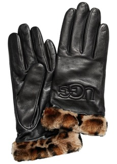 Ugg Classic Leather & Shearling Logo Gloves