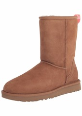 UGG Classic Short Ii Graphic Logo Boot Chestnut / Neon Coral Size
