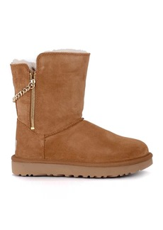 Ugg Classic Short Sparkle Zip Brown Suede Ankle Boots