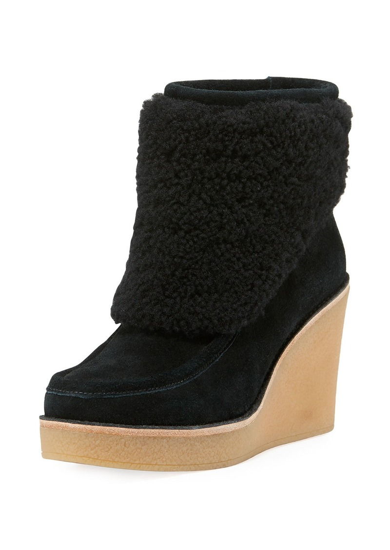 0e490864d12 Coldin Shearling Wedge Bootie