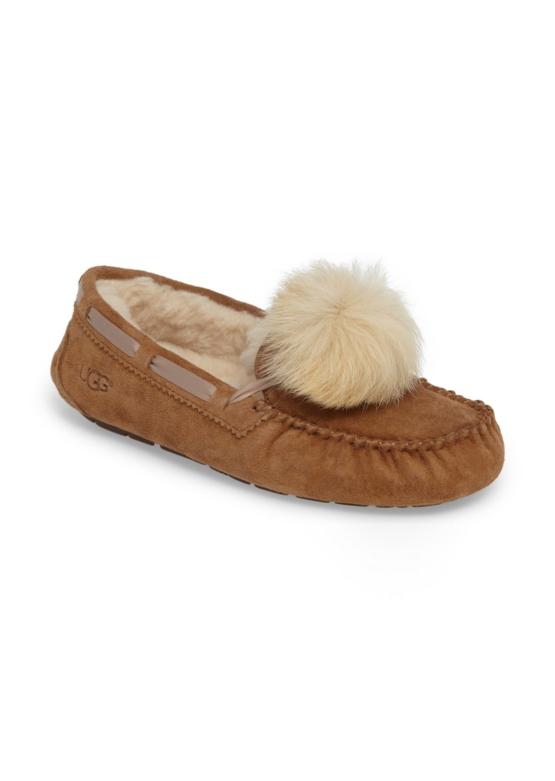 UGG® Dakota Genuine Shearling Pompom Slipper (Women)