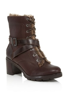 UGG� Ingrid Leather and Sheepskin Block Heel Booties