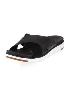 UGG Kari Leather/Suede Cross-Band Slide Sandal
