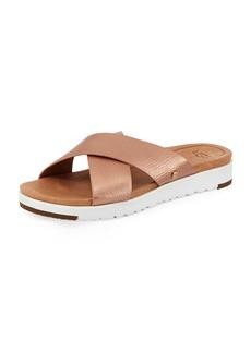 UGG Kari Metallic Leather/Suede Cross-Band Slide Sandal