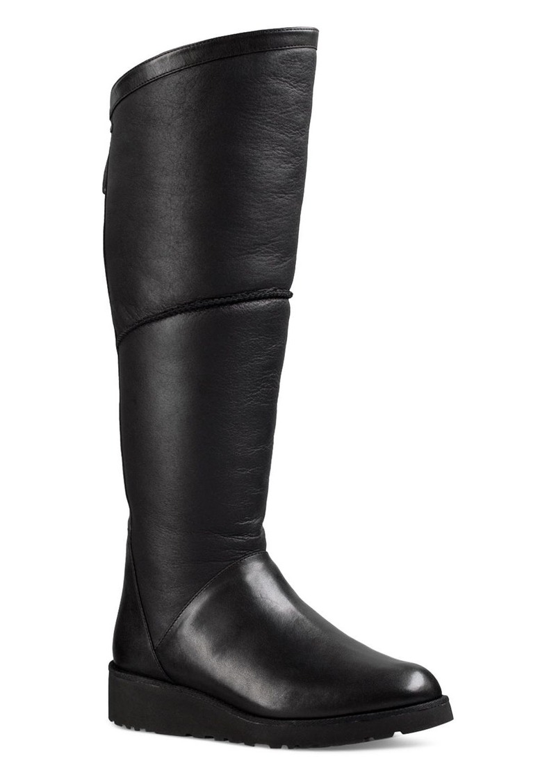 c98e1035162 UGG UGG  Kendi Sheepskin and Leather Wedge Tall Boots | Shoes