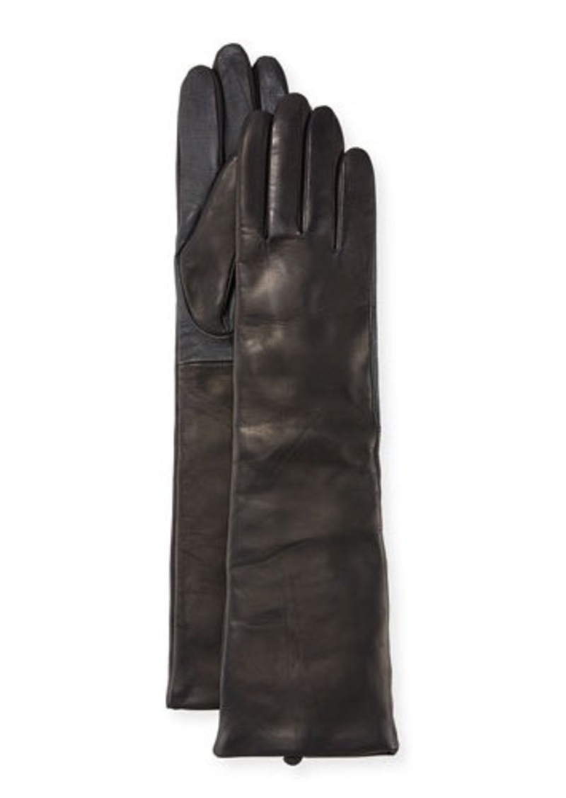 Neiman Marcus Cashmere-Lined Long Leather Tech Gloves