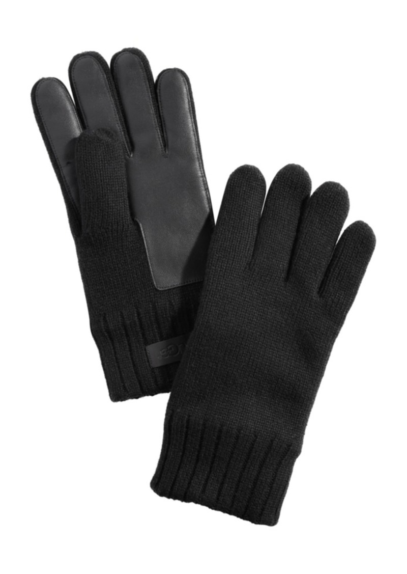Ugg Men's Knit Leather-Patch Tech Gloves