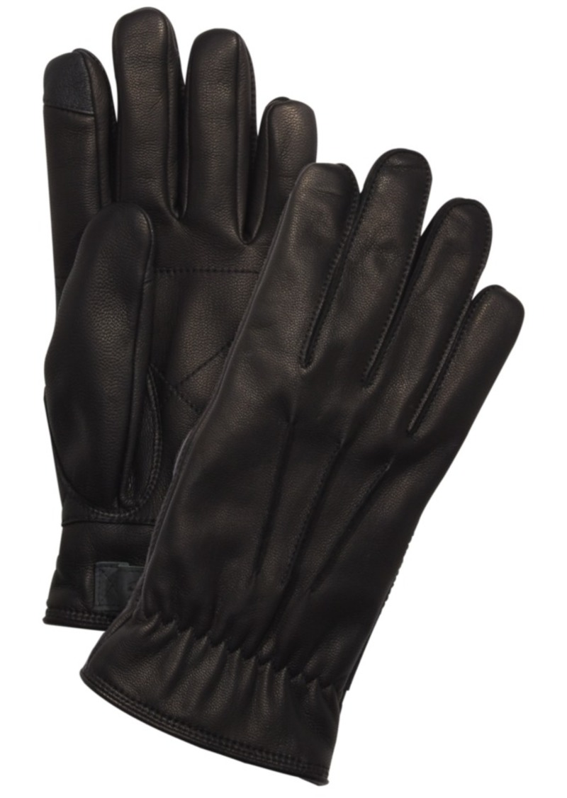 Ugg Men's Leather Fleece-Lined Gloves