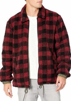 UGG Men's Mace Reversible Sherpa Jacket RED Plaid/Olive XL