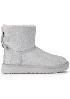 Ugg Mini Bailey Bow Glitter And Silver Sheepskin Ankle Boots