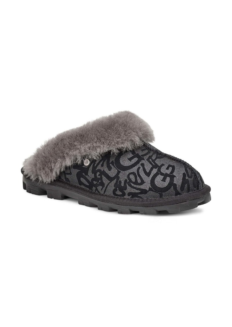 UGG® Sparkle Graffiti Genuine Shearling Slipper (Women)