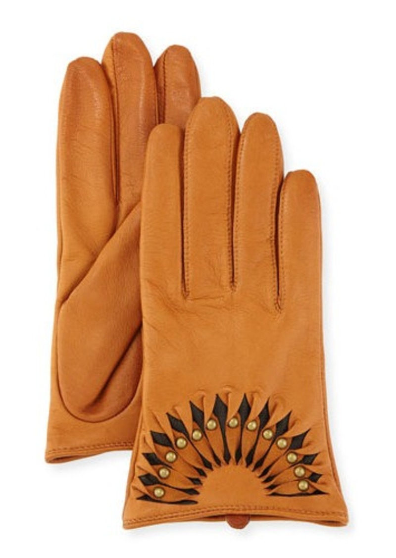 Neiman Marcus Studded Leather Short Gloves