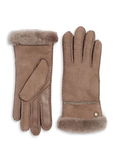UGG Textured Suede and Fur Gloves