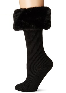 UGG Women's Faux Fur Cuff Tall Rainboot Sock  O/S