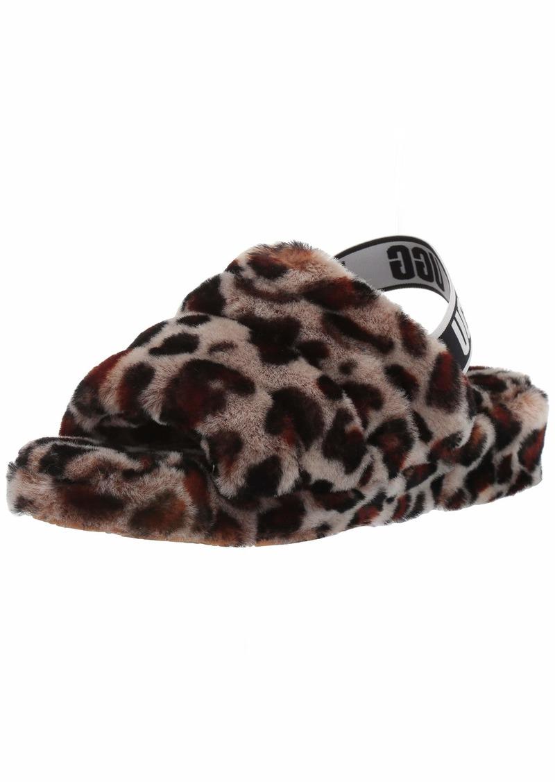 UGG Women's Fluff Yeah Slide Leopard Wedge Sandal   M US