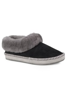 UGG Wrin Leisure Fur-Trimmed Leather Slippers