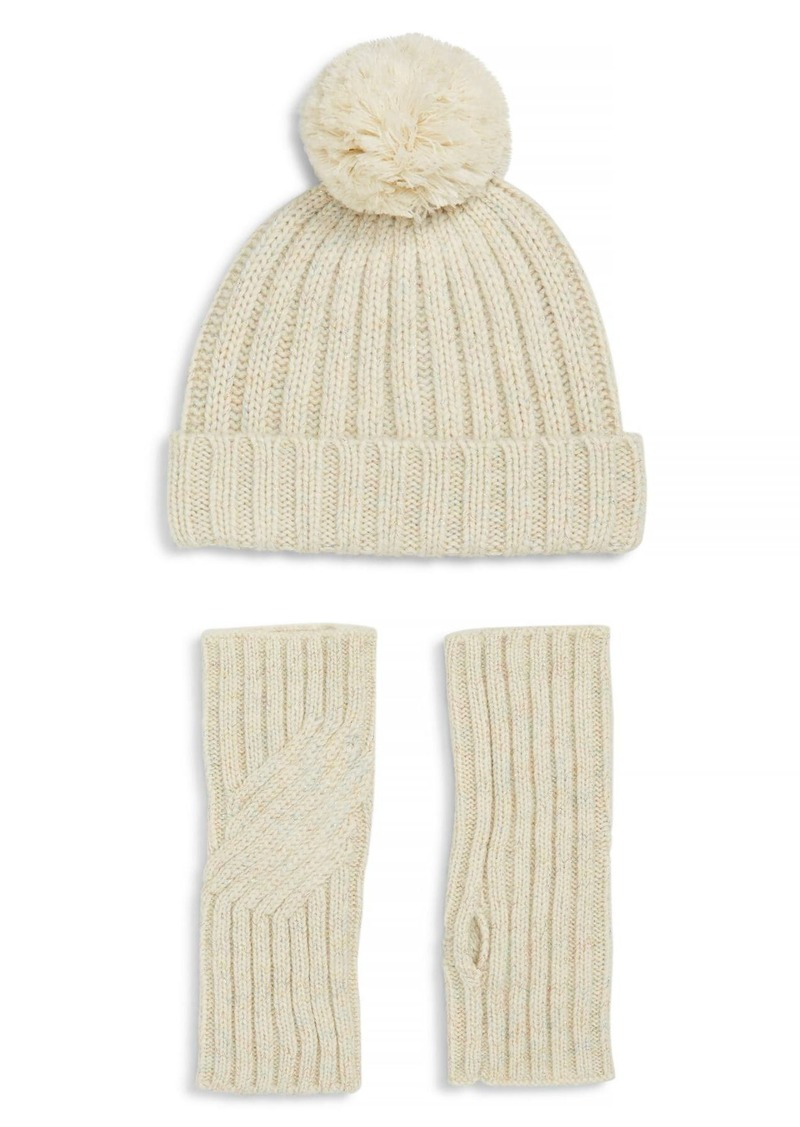 UGG Shimmer Cable Knit Arm Warmers & Pom Beanie Set