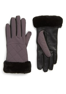 UGG(R) Water Resistant Touchscreen Quilted Nylon, Leather & Genuine Shearling Gloves