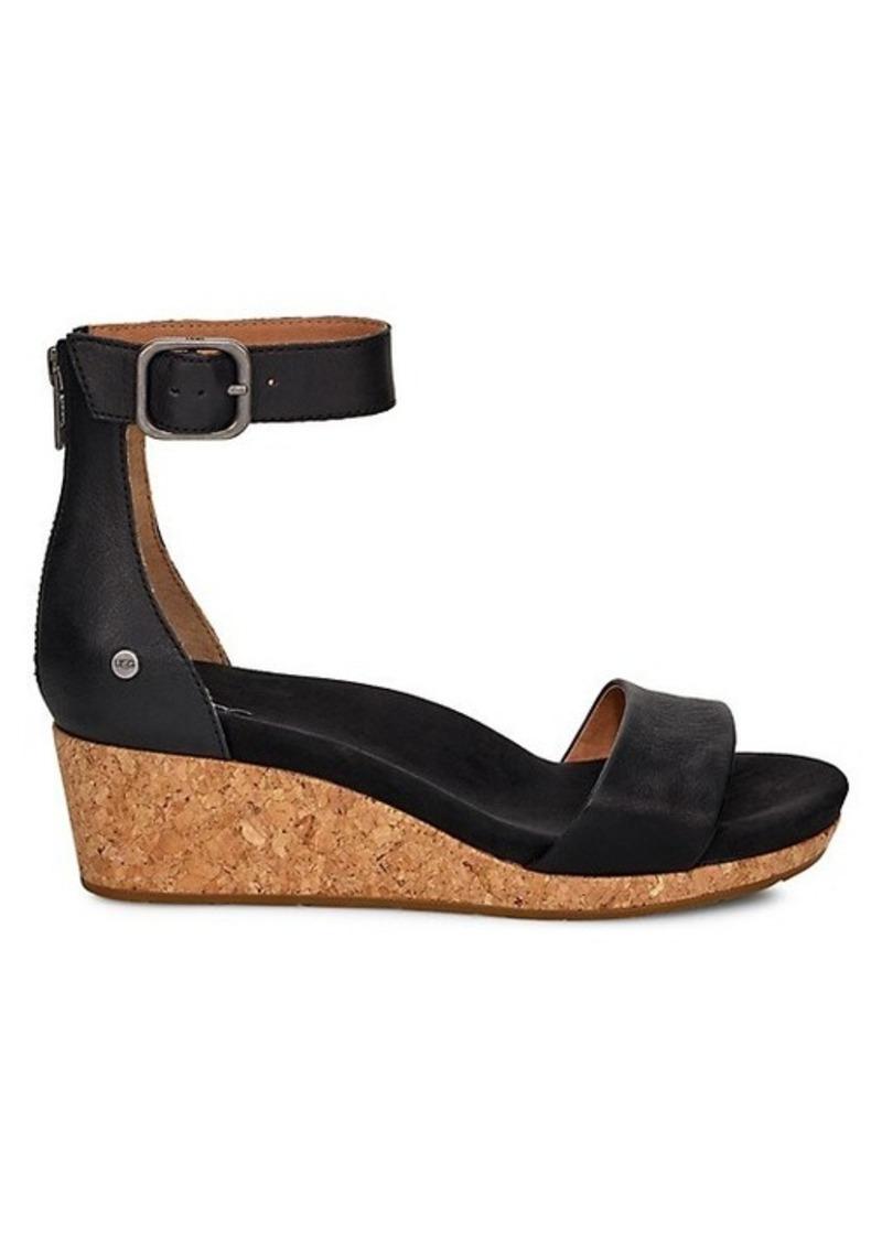 UGG Zoe II Leather Wedge Sandals