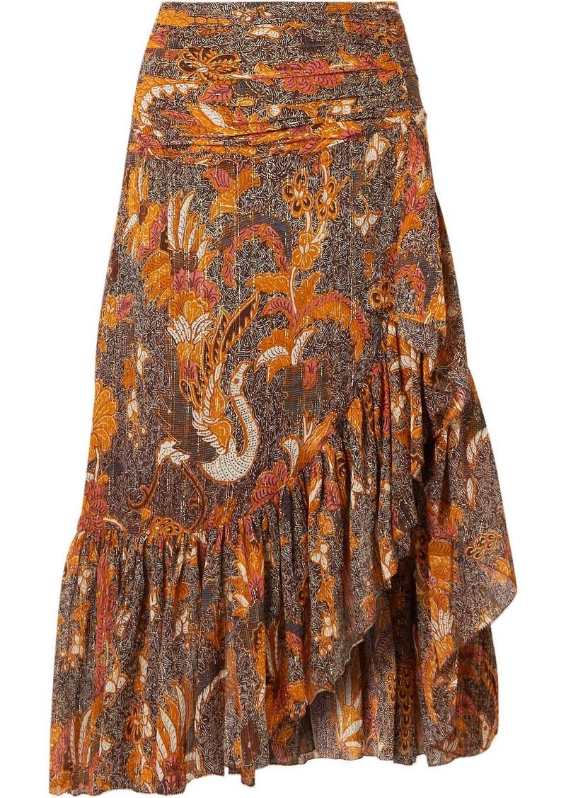Ulla Johnson Ailie Ruffled Printed Cotton-blend Midi Skirt