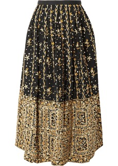 Ulla Johnson Aisha Embellished Embroidered Linen And Cotton-blend Midi Skirt