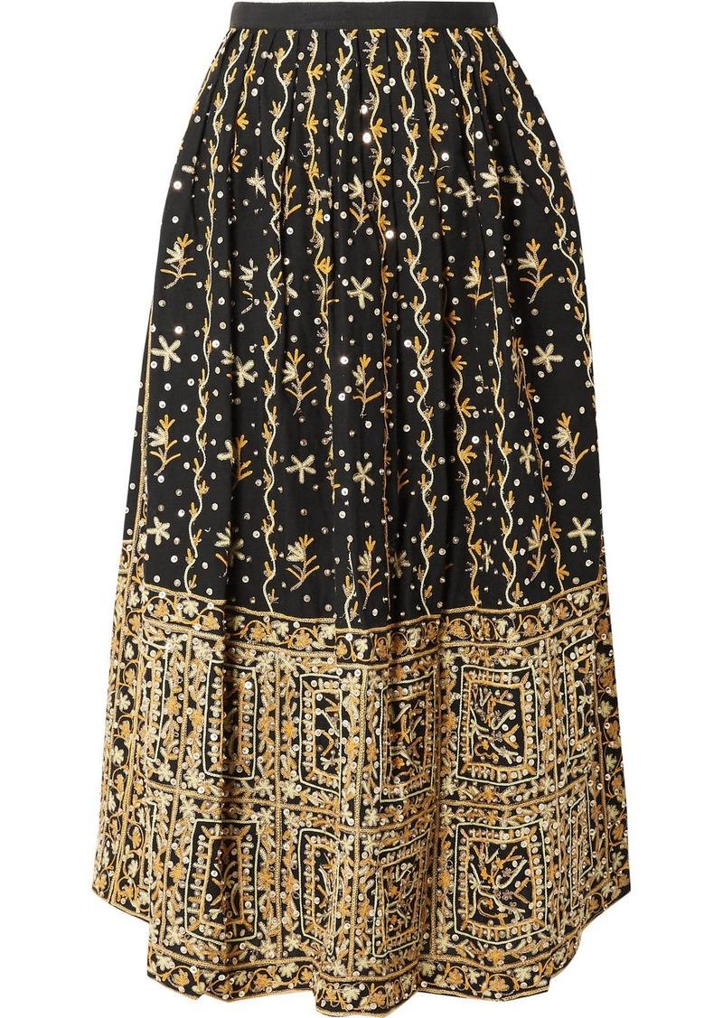 Ulla Johnson Aisha Embellished Embroidered Linen And Cotton-blend Midi Skirt