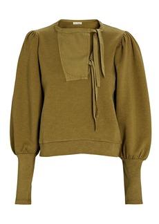 Ulla Johnson Alba Washed Cotton Fleece Sweatshirt