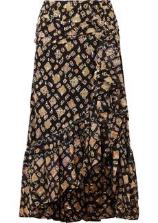 Ulla Johnson Alie Ruffled Fil Coupé Silk-blend Midi Skirt