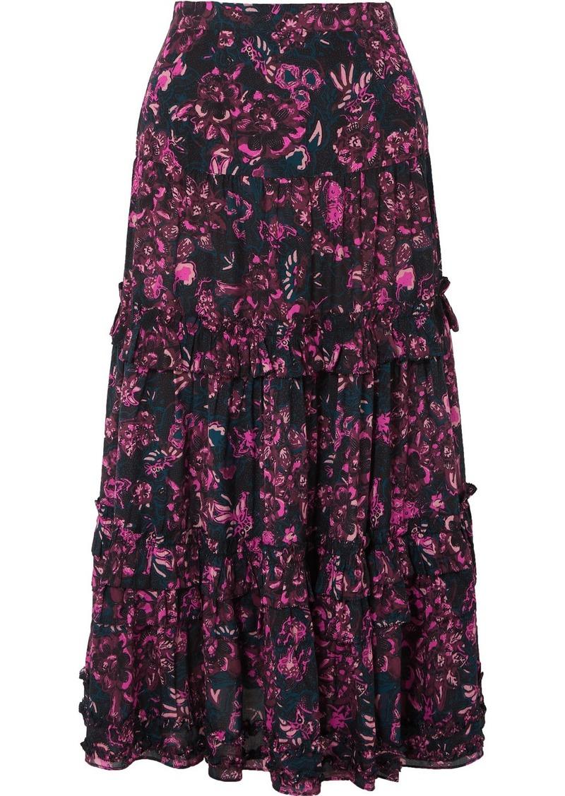 Ulla Johnson Amalia Tiered Floral-print Cotton-blend Voile Midi Skirt