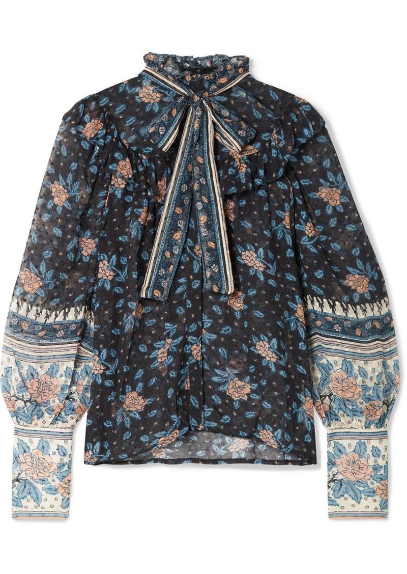 Ulla Johnson Antoine Pussy-bow Floral-print Fil Coupé Silk-blend Chiffon Blouse