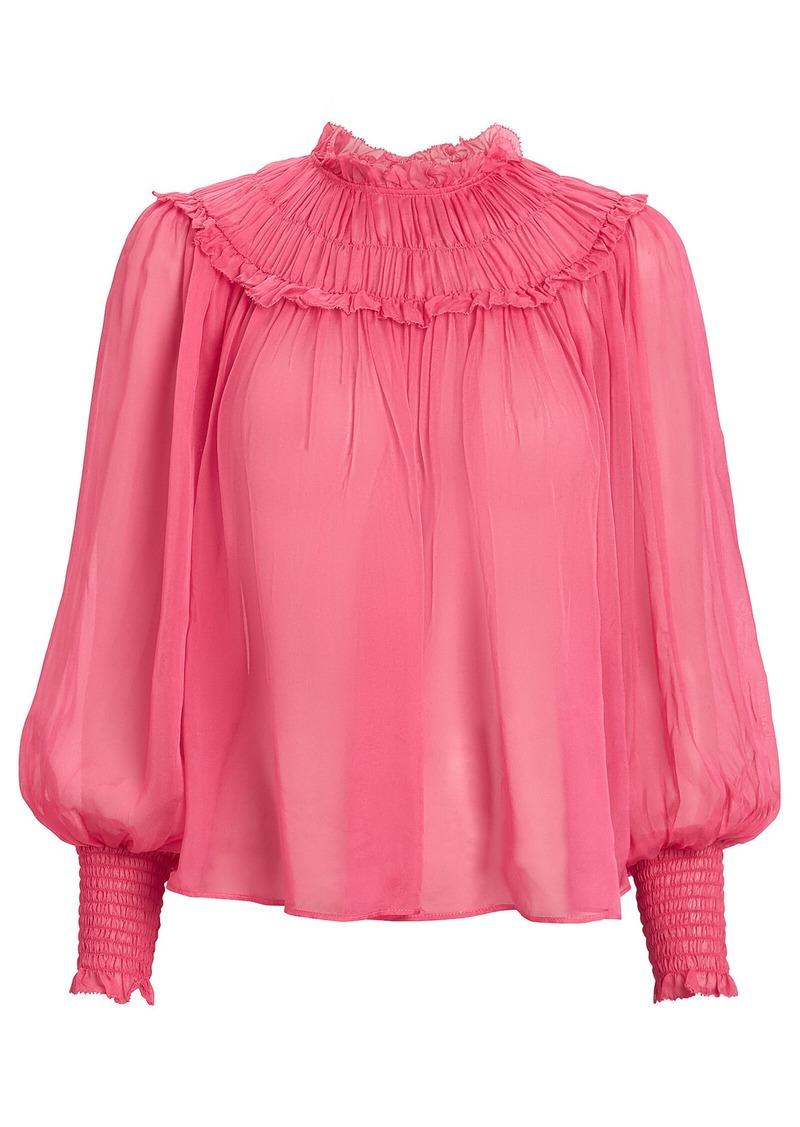Ulla Johnson Arabella Silk Pleated Blouse