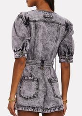 Ulla Johnson Carmine Denim Puff Sleeve Playsuit