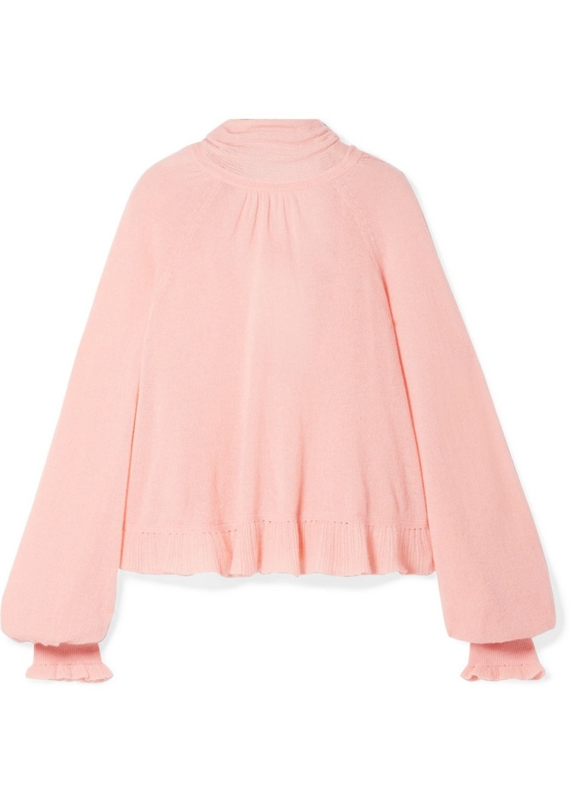 Ulla Johnson Clover Ruffled Pussy-bow Cashmere-blend Open-back Sweater