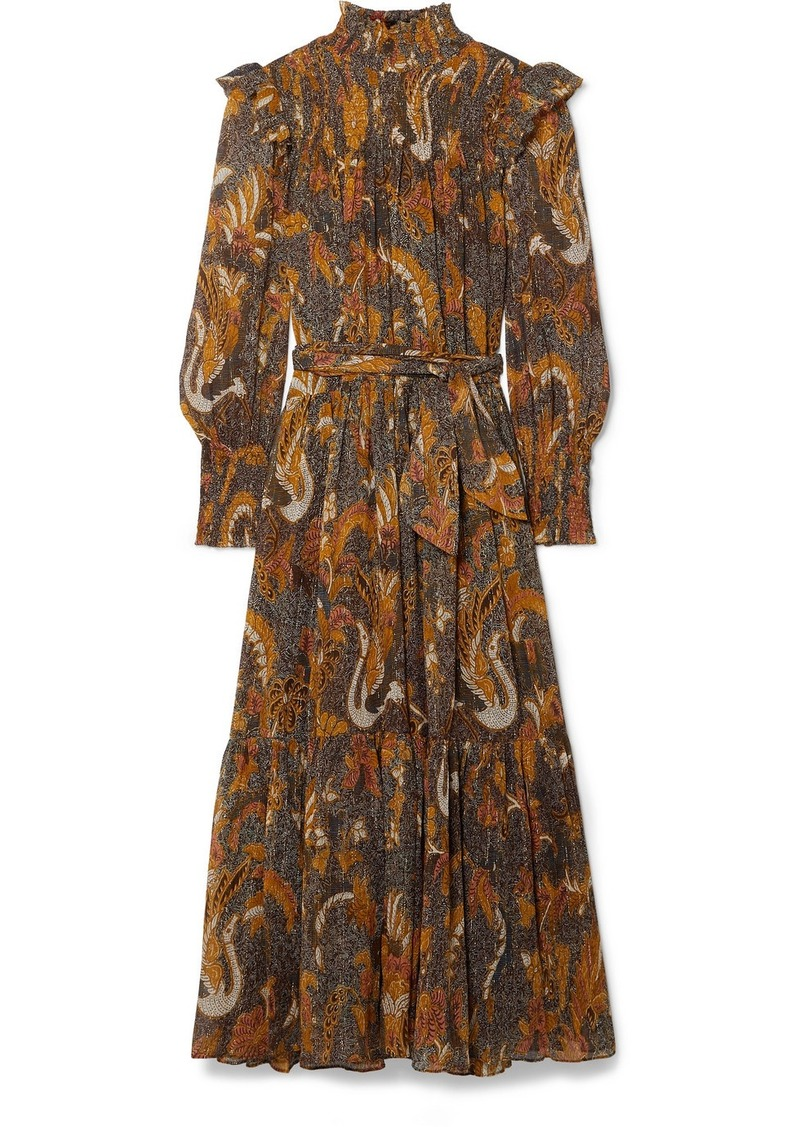 Ulla Johnson Constantine Smocked Ruffled Printed Cotton-blend Midi Dress